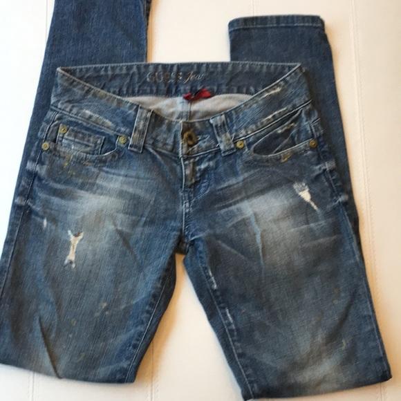 Guess Denim - Distressed daredevil skinny jeans